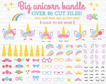 Big unicorn bundle svg, Big bundle svg, Unicorn kit svg, Unicorn clipart, Unicorn svg file, Unicorn party svg, Unicorn cricut, Svg bundle