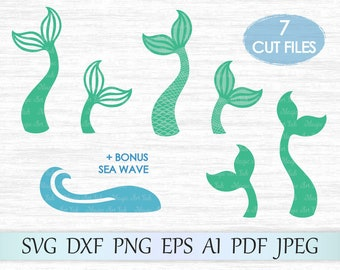 Mermaid tail svg file, Mermaid svg, Sea wave svg, Mermaid scale svg, Fish tail cricut, Mermaid cut file, Mermaid cricut, Mermaid silhouette