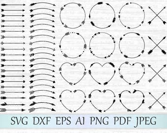 Arrows svg file, Arrow circle svg, Arrow frame svg, Arrow monogram svg, Tribal arrows svg, Boho arrow clipart, Arrows cut file, Arrow cricut