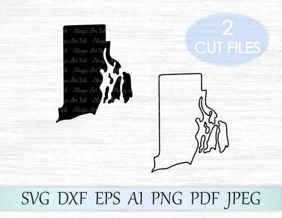 Rhode Island Svg Vector Clipart Rhode Island Outline Svg Cuttable Rhode Island Map Svg Hand Lettered SVG Silhouette