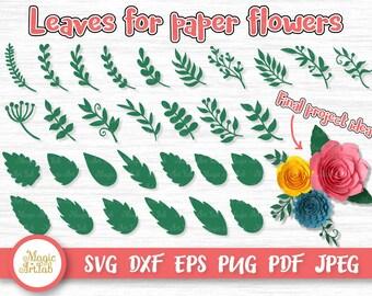 Leaves SVG - Paper Leaves Print - Leaf SVG - Leaves cut file - Hand drawn floral svg - Handrawn Leaf Bundle - Leaf Cricut - Silhouette Cameo