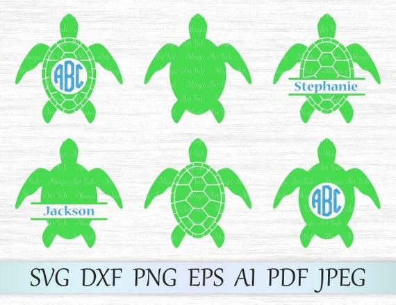 Turtle Svg File Sea Turtle Monogram Turtle Cut File Turtle Etsy