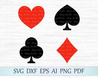 Playing card suits svg, Silhouette cut file, Heart, Diamond, Spade, Club, Card Suits vector clipart, Card suits clip art, Cricut cut file
