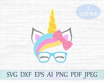 Unicorn head svg file, Unicorn face svg file, Unicorn face clipart, Unicorn horn svg, Unicorn eyelashes svg, Unicorn with glasses and bow