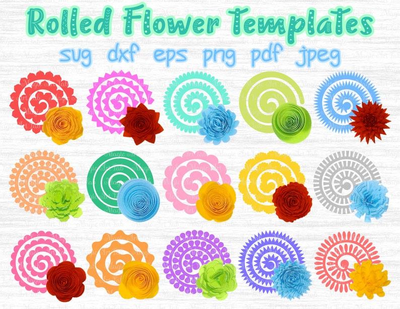 Rolled Flower Svg 3d Flower Svg Rolled Paper Flower Paper Flowers Svg Rolled Flower Template Flower Cricut Rolled Flowers Origami Svg