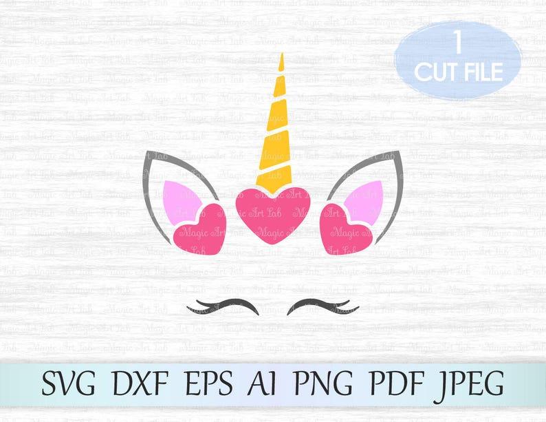 Unicorn Svg, Unicorn head, Unicorn face, Cute Unicorn Svg, Eyelashes Svg,  Unicorn clipart, Unicorn horn, Cut Files, Silhouette Cut Files