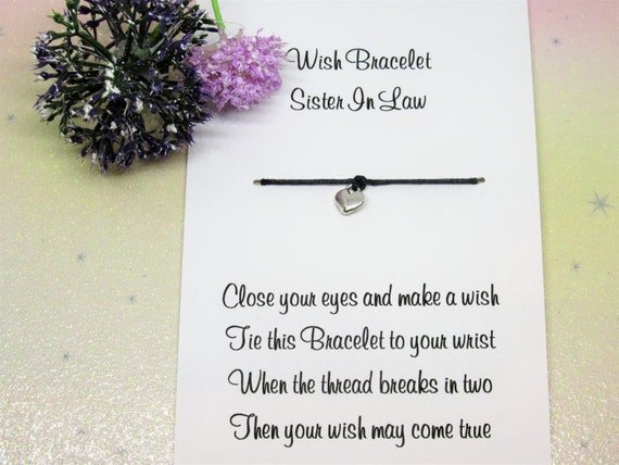 Soul Sisters Wish Bracelet Friendship Gift Card Anklet Heart Charm Family