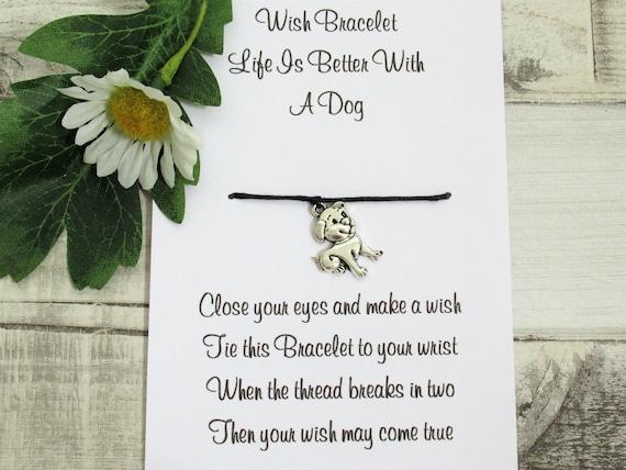 Crazy Dog Lady Wish Bracelet Friendship Gift Card Anklet Family Furbaby Love