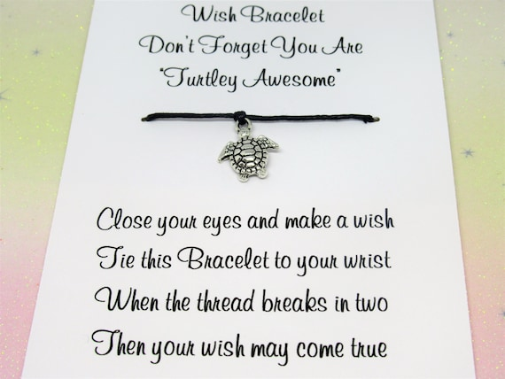 You Are Turtley Awesome Wish Bracelet Anxiety Gift Card Charm Anklet Friendship