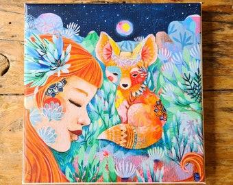 Printing on canvas Fox and fox woman