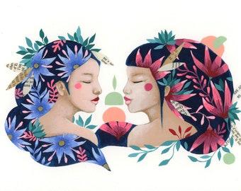 Duo women flowery original illustration