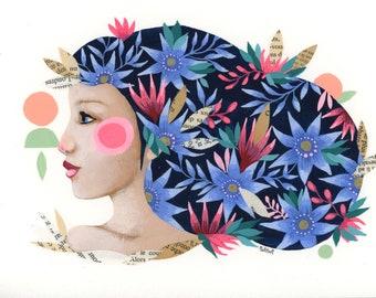 Portrait woman flowers original illustration