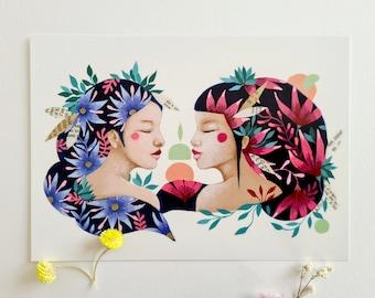 Map illustration women flowers