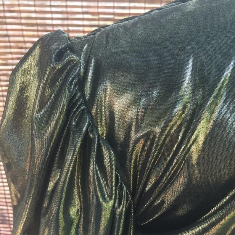 Vintage 80/'s Gold Metallic Prom Party Drop Waist Dress