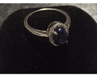 NEW 1.05 ctw Lapis & Diamond 14K white gold ring retail 800.00 with certificate