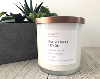 PATCHOULI + LEMON Soy Wax Candle / Soy Candle / Aromatherapy Soy Wax Candle / AromaVela Candle Co