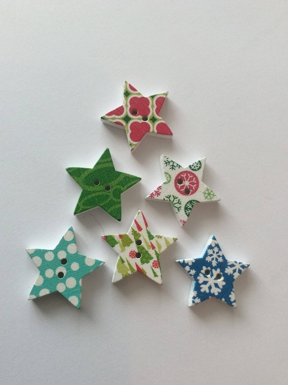 6 Star Buttons Christmas Star Buttons Wooden Star Button Craft Sewing Buttons Craft Embellishment Sewing Buttons Scrapbooking Card Making