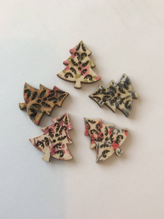 6 Christmas Tree Buttons Wooden Snowflake Wooden Craft Scrapbooking Novelty UK