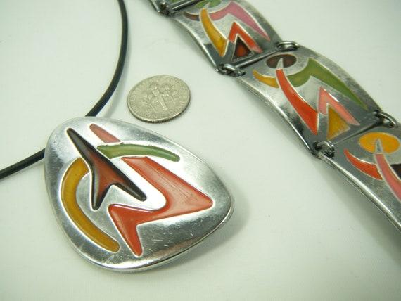 Mid-Century Modern Enamel Set Bracelet necklace/Pi