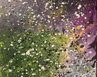 Abstract Crayon Art-Wall Decor, Wall Art, Hand Painted Canvas, Modern, Galaxy, Space