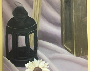 Rustic Lantern Still Life Oil Painting
