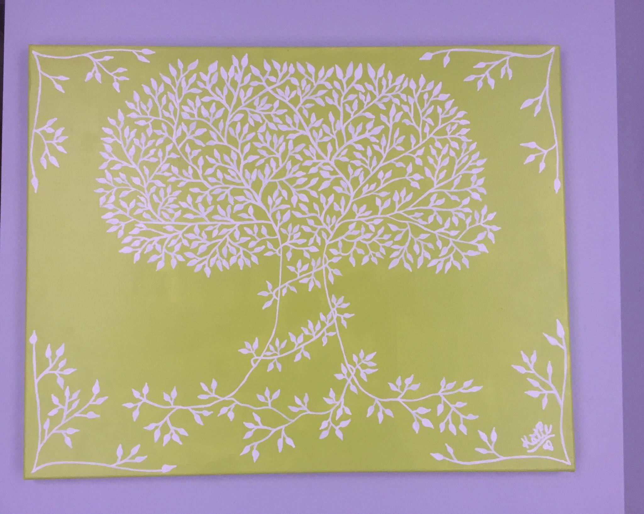 Primitive Tree Painting Green-Wall Decor Wall Art Wedding | Etsy
