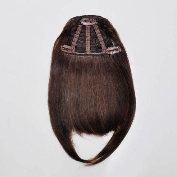 Mocha Brown Fringe Bangs Hair Extensions Frontal Bang 100 Etsy
