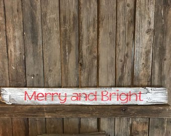 Merry and Bright picket sign