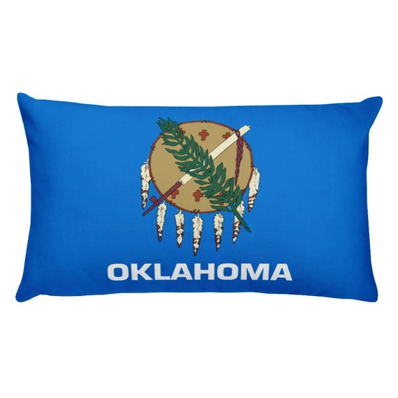 Oklahoma State Flag Throw Pillow Covers Blue Green Brown Etsy