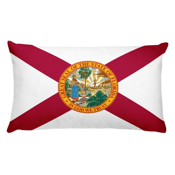 Florida State Flag Throw Pillow Covers Red White State Etsy