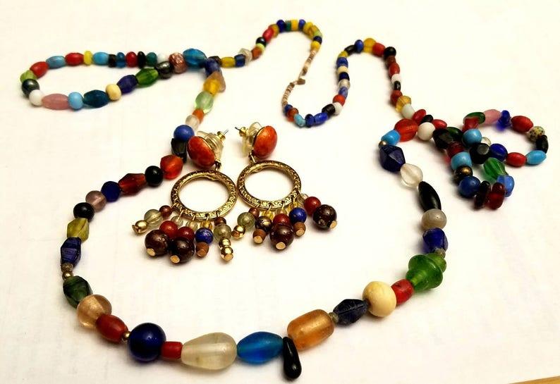 necklace and earrings multi colored semi precious stones