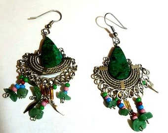 silver and green dangle earrings