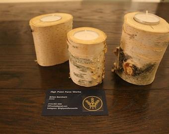 Natural birch branch candleholders