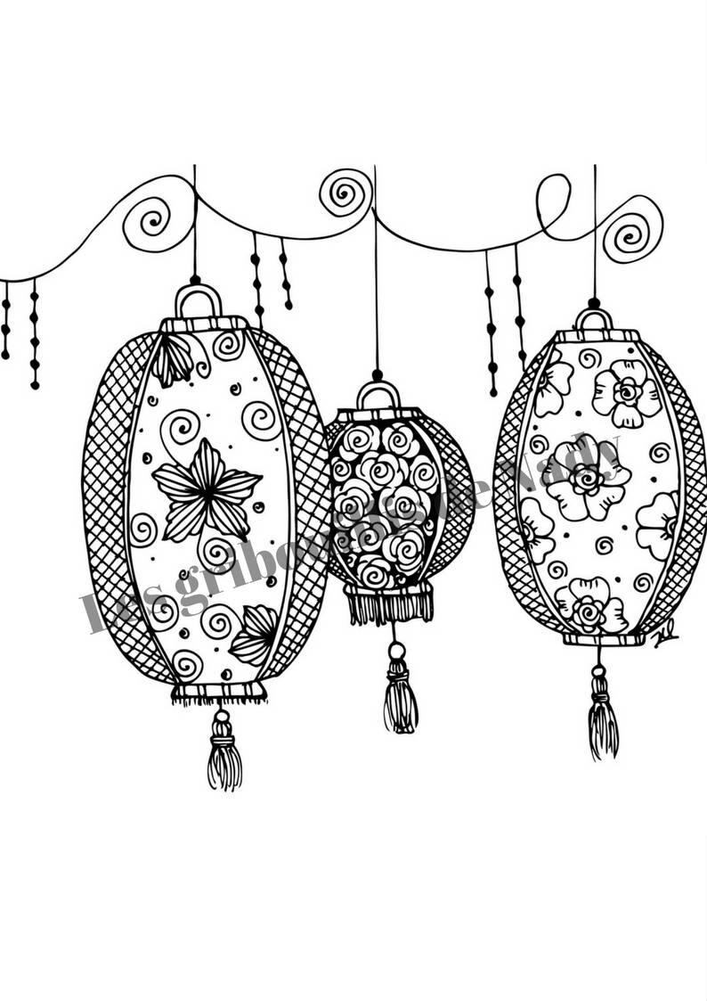 Mandala Lanternes Chinoises à Colorier Et à Imprimer Vous Même Etsy