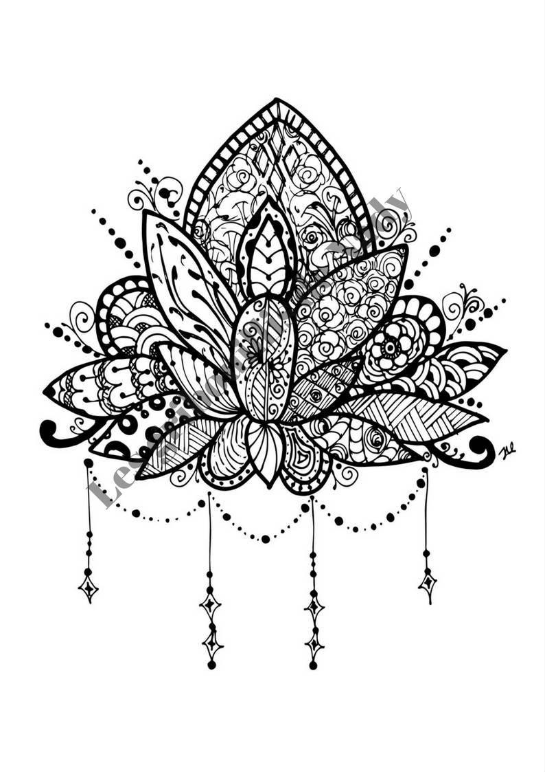 Mandala Fleur De Lotus à Colorier Et à Imprimer Vous Même Etsy