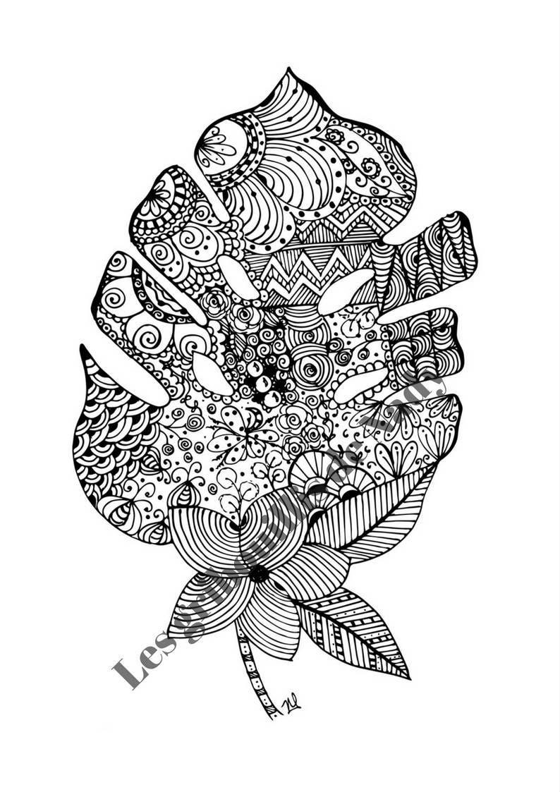 Mandala Feuille Tropical à Colorier Et à Imprimer Vous Même Etsy