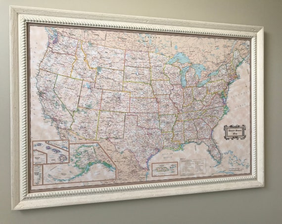 Vintage Style Push Pin United States Map Shown With Rustic Off-White on united states map poster, united states map color, united states map 1860,