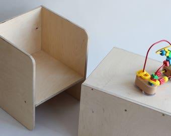 Mini/Maxi silla - silla niño - bebé - silla para niños - silla moderna - Montessori - madera contrachapada silla - cubo
