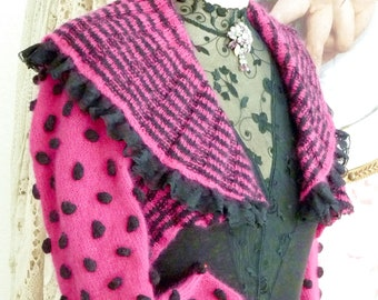 Sweet Mohair Bolero o. Knitted Jacket with Knubbeln Pink with Black Lace
