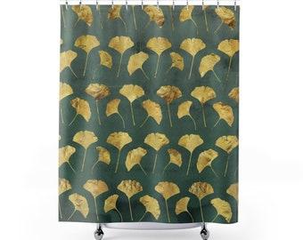 Gingko Gold Green Shower Curtain Home Decor Bathroom Retro Cool Long Art