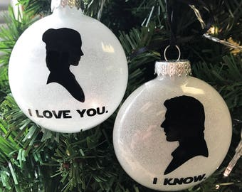 "Star Wars Ornament Set: ""I love you."" & ""I know."" Great for weddings, anniversaries, and Valentine's Day! Free shipping."