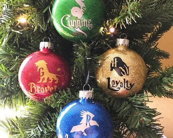 HarryPotter Hogwarts Houses Ornament Set Gryffindor, Hufflepuff, Ravenclaw & Slytherin- Free Shipping