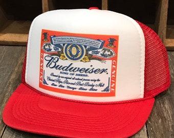 925557cc43c Budweiser King of Beers Trucker Hat Bud Light Vintage 80 s Snapback Mesh  Beer Cap Red White