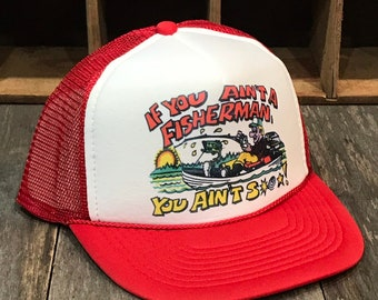 9938a7dcd89285 Funny Fishing Trucker Hat Vintage 70's 80's Mesh Cap Trout, Salmon, Bass  Fishermans Cap