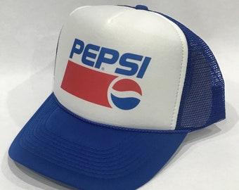 5e97d8b74040a Pepsi Cola Soda Pop Trucker Hat Vintage 90 s Snapback Mesh Cap Blue