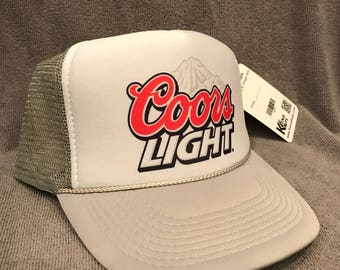 Coors Light Beer Trucker Hat Born Rockies Vintage Promo Party Snapback Cap  Grey Blue Mountains ab11f5b27d5