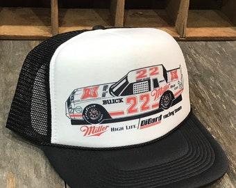 92f6caee Miller High Life Beer Nascar Bobby Allison Vintage 80's Trucker Hat Nascar  Racing Cap Black