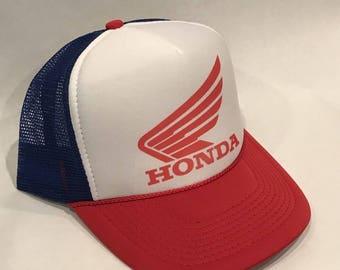 10ed2e87170 Honda Motorcycle Hat Racing Vintage Trucker Mesh Snapback RWB Red Blue Cap