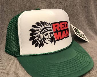 c47065c4 Red Man Chewing Tobacco Trucker Hat Vintage Snapback Cap Green Indian 2255