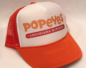 Popeyes Fried Chicken Trucker Hat Vintage Louisiana Style Snapback Cap Orange